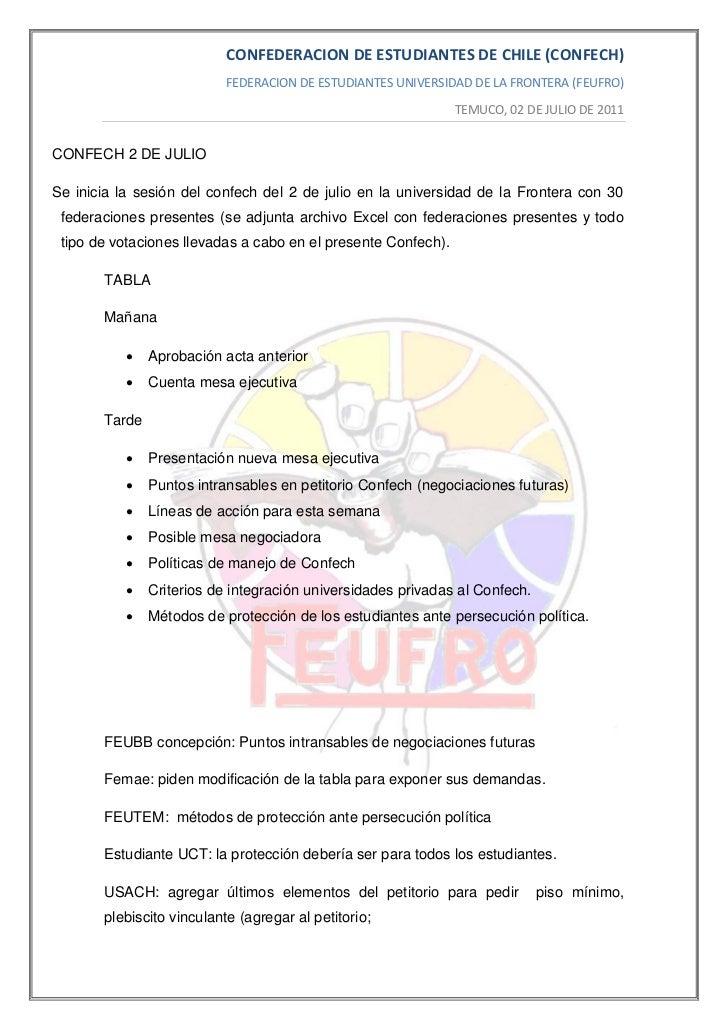 CONFEDERACION DE ESTUDIANTES DE CHILE (CONFECH)                           FEDERACION DE ESTUDIANTES UNIVERSIDAD DE LA FRON...