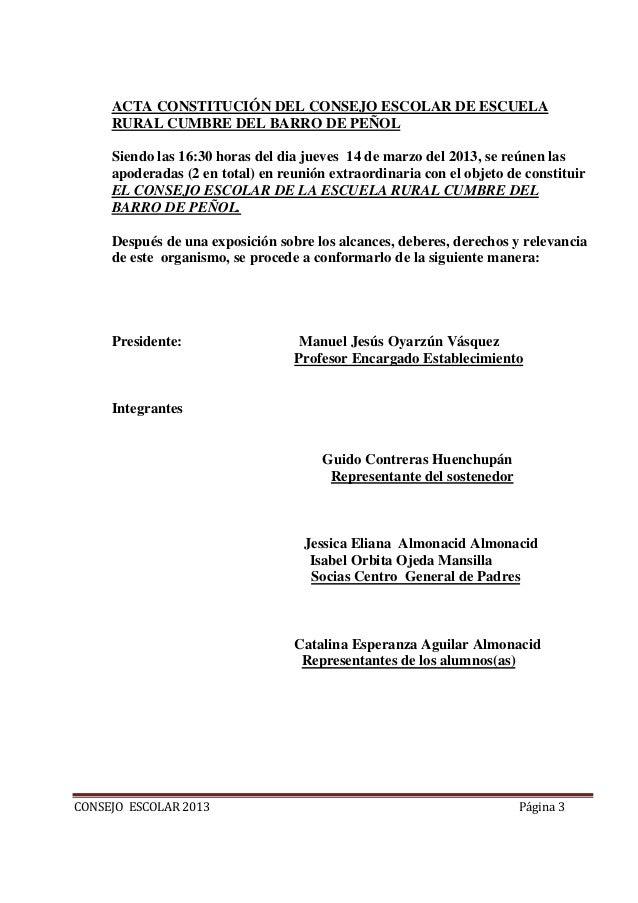 Acta constitucion y reglamento  consejo escolar 2013 Slide 3
