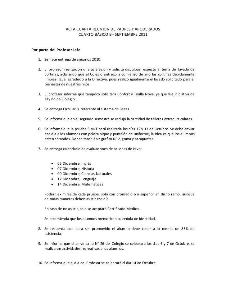 ACTACUARTAREUNIÓNDEPADRESYAPODERADOS                            CUARTOBÁSICOB‐SEPTIEMBRE2011PorpartedelPr...