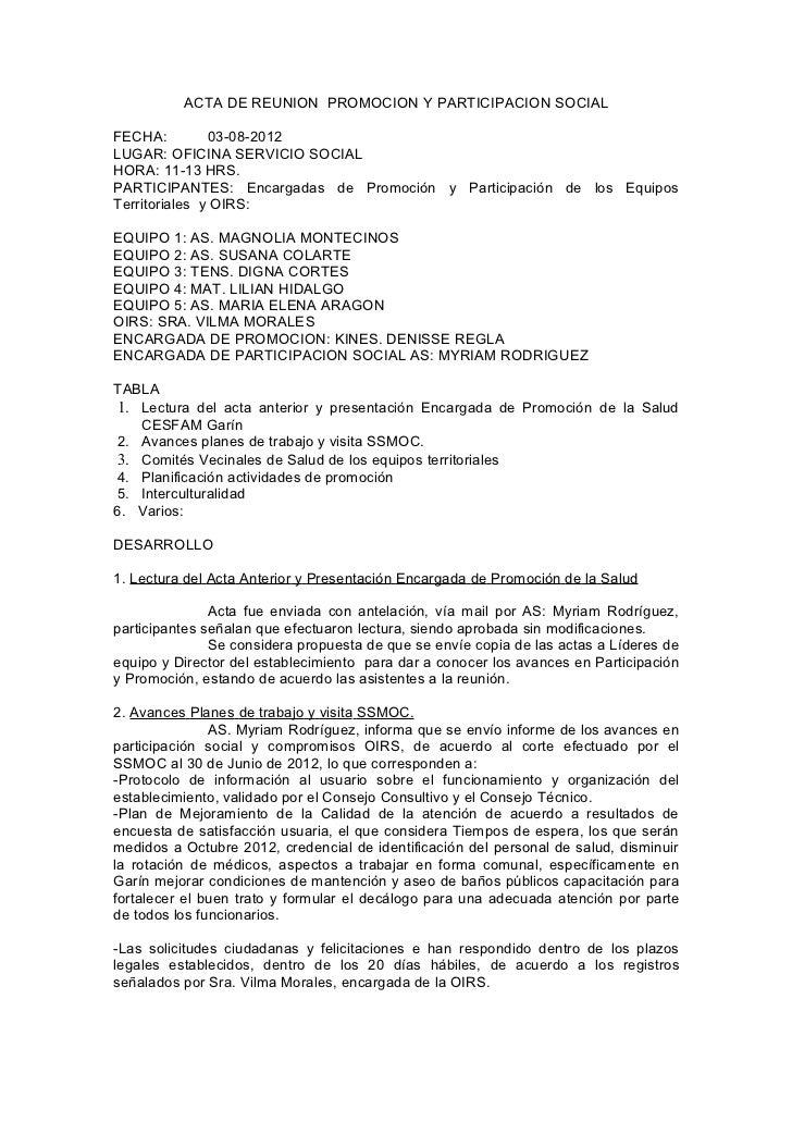 ACTA DE REUNION PROMOCION Y PARTICIPACION SOCIALFECHA:         03-08-2012LUGAR: OFICINA SERVICIO SOCIALHORA: 11-13 HRS.PAR...