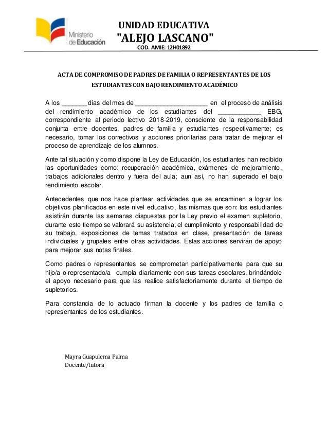 """UNIDAD EDUCATIVA """"ALEJO LASCANO"""" COD. AMIE: 12H01892 ACTA DE COMPROMISO DE PADRES DE FAMILIA O REPRESENTANTES DE LOS ESTUD..."""