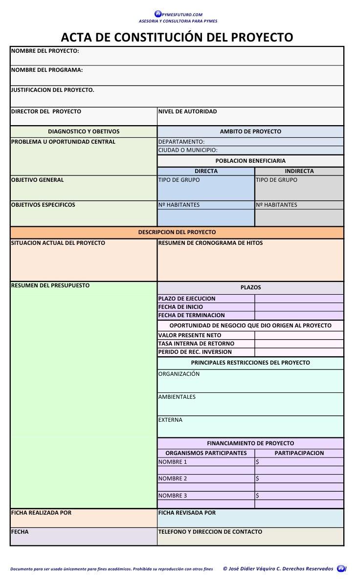Acta de constituci n proyecto for Ejemplo proyecto completo pmbok