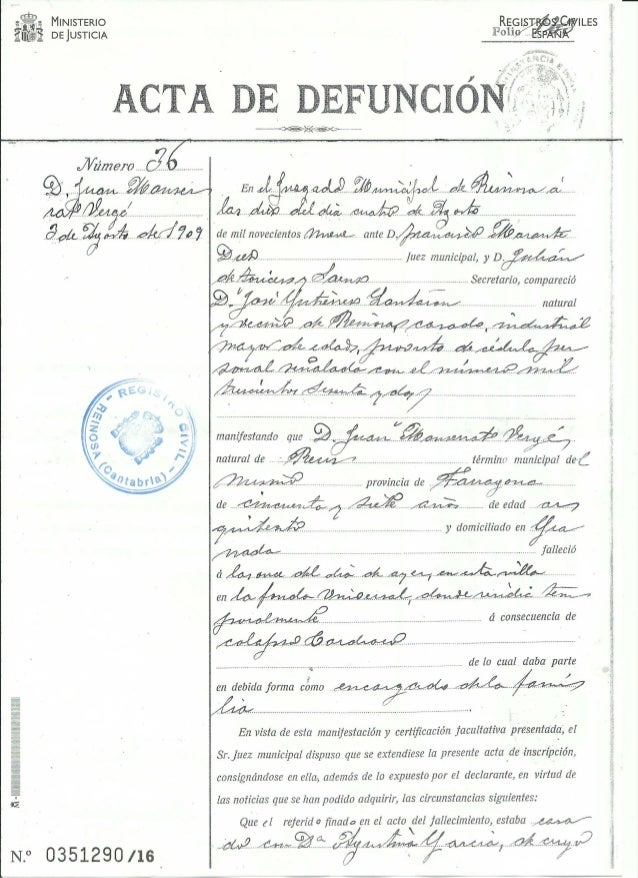 Acta de defunción de juan monserrat vergés