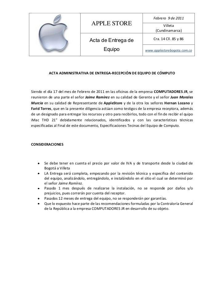 ACTA ADMINISTRATIVA DE ENTREGA-RECEPCIÓN DE EQUIPO DE CÓMPUTO<br />Siendo el día 17 del mes de Febrero de 2011 en las ofic...