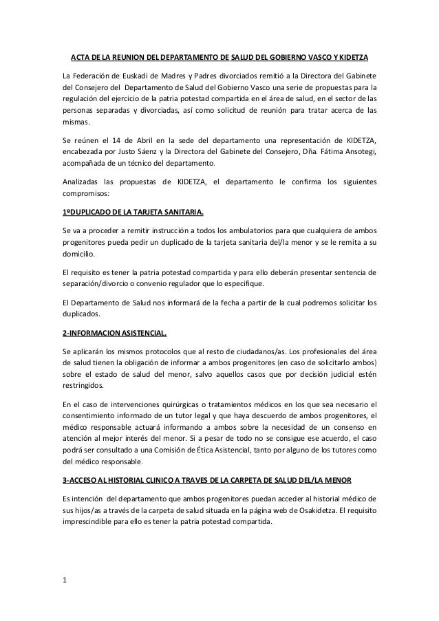 Acta de la reunion de la consejeria de salud del gobierno - Departamento de interior del gobierno vasco ...