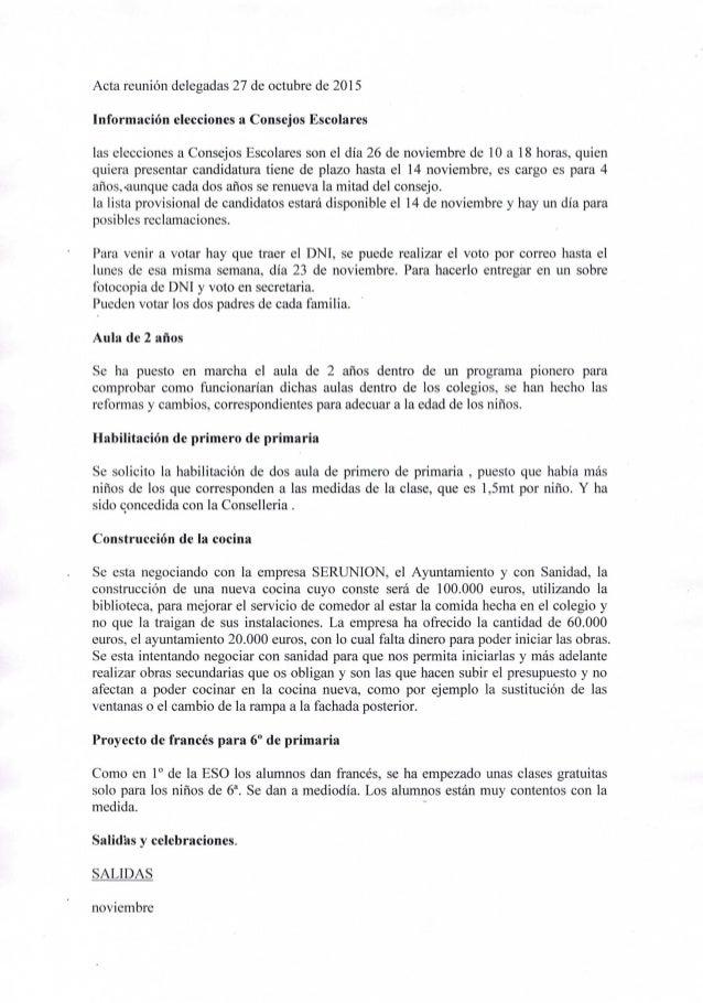 Acta reunión delegadas 27 de octubre de 2015  información elecciones a Consejos Escolares  las elecciones a Consejos Escol...