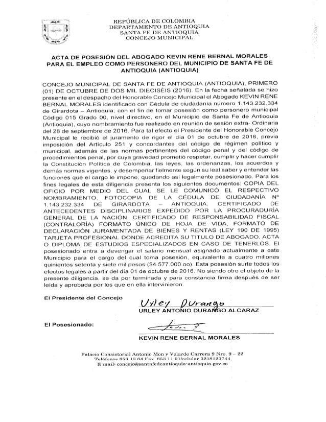 Acta de posesión del personero de Santa Fe de Antioquia