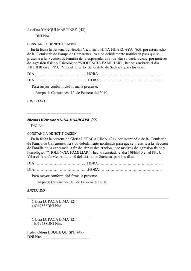 Acta de recepcion de denuncia for Acta familiar