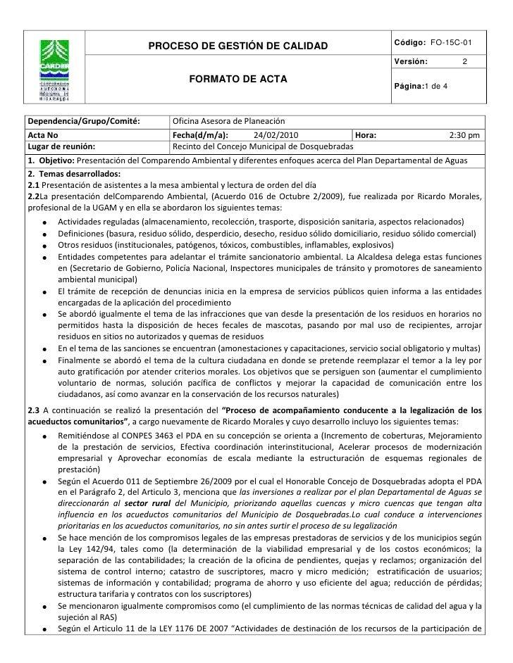 Dependencia/Grupo/Comité:Oficina Asesora de Planeación  Acta No Fecha(d/m/a):                        24/02/2010Hora:      ...