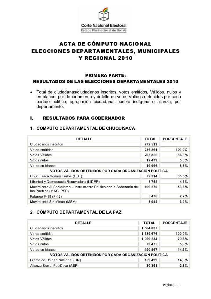 ACTA DE CÓMPUTO NACIONALELECCIONES DEPARTAMENTALES, MUNICIPALES             Y REGIONAL 2010                      PRIMERA P...