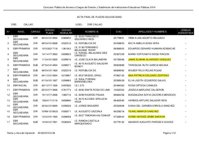 Concurso Público de Acceso a Cargos de Director y Subdirector de Instituciones Educativas Públicas 2014 CALLAO DRE CALLAOD...