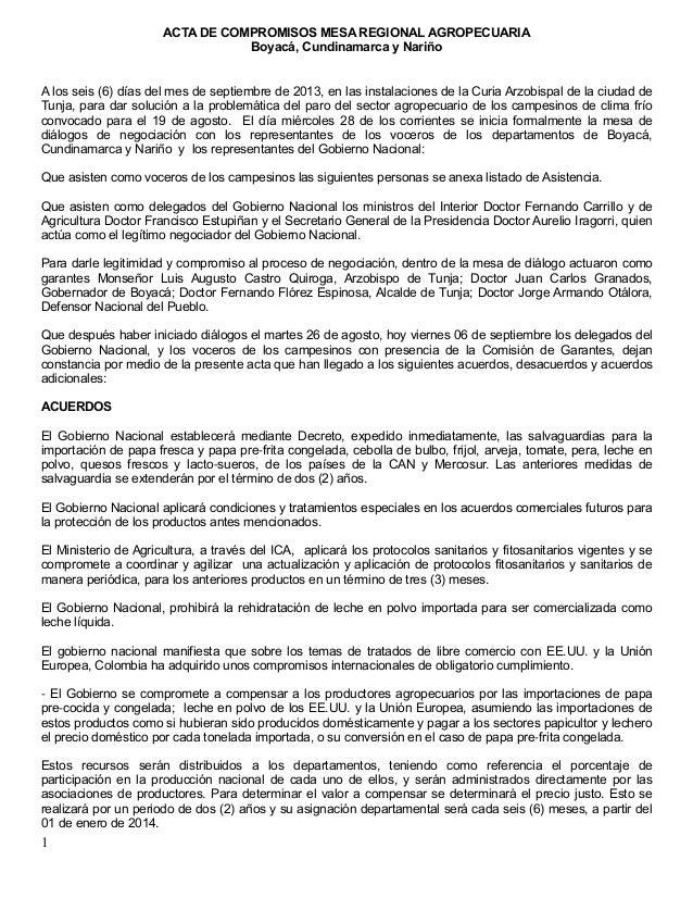 ACTA DE COMPROMISOS MESA REGIONAL AGROPECUARIA Boyacá, Cundinamarca y Nariño 1 A los seis (6) días del mes de septiembre d...