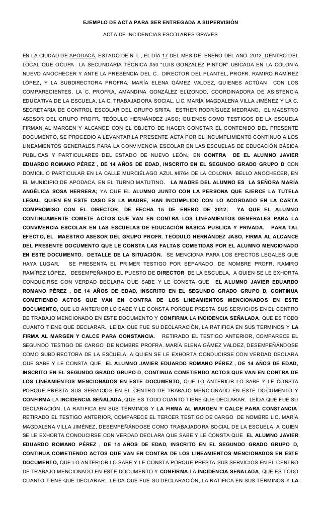 EJEMPLO DE ACTA PARA SER ENTREGADA A SUPERVISIÓN                           ACTA DE INCIDENCIAS ESCOLARES GRAVESEN LA CIUDA...