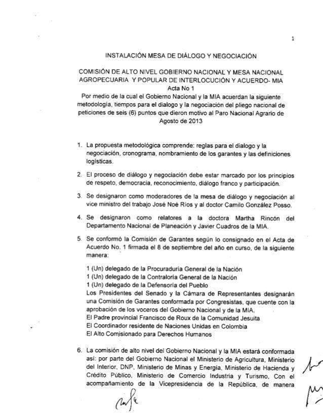 Acta instalacion mesa de dialogo y negociacion sep 19 2013 Paro Agrario MIA