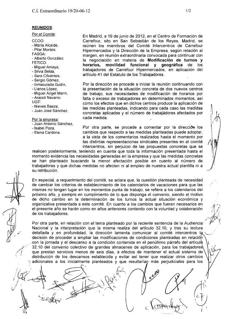 C.I. Extraordinario 19120-06-12                                                   112      REUNIDOS:      Por el Comité:  ...