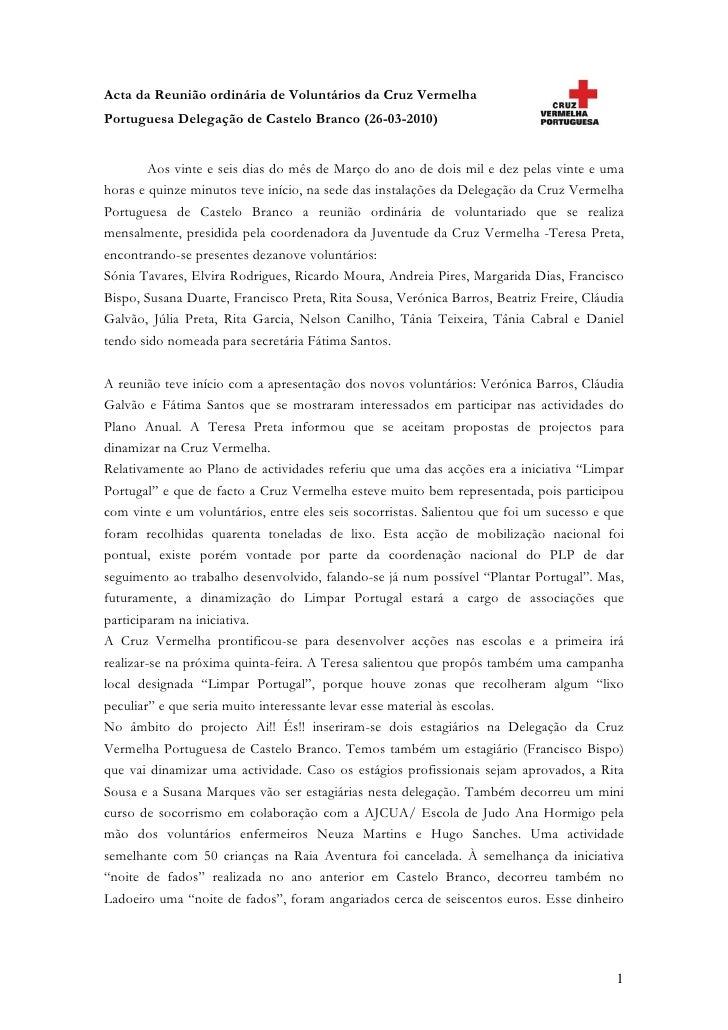 Acta da Reunião ordinária de Voluntários da Cruz Vermelha Portuguesa Delegação de Castelo Branco (26-03-2010)           Ao...