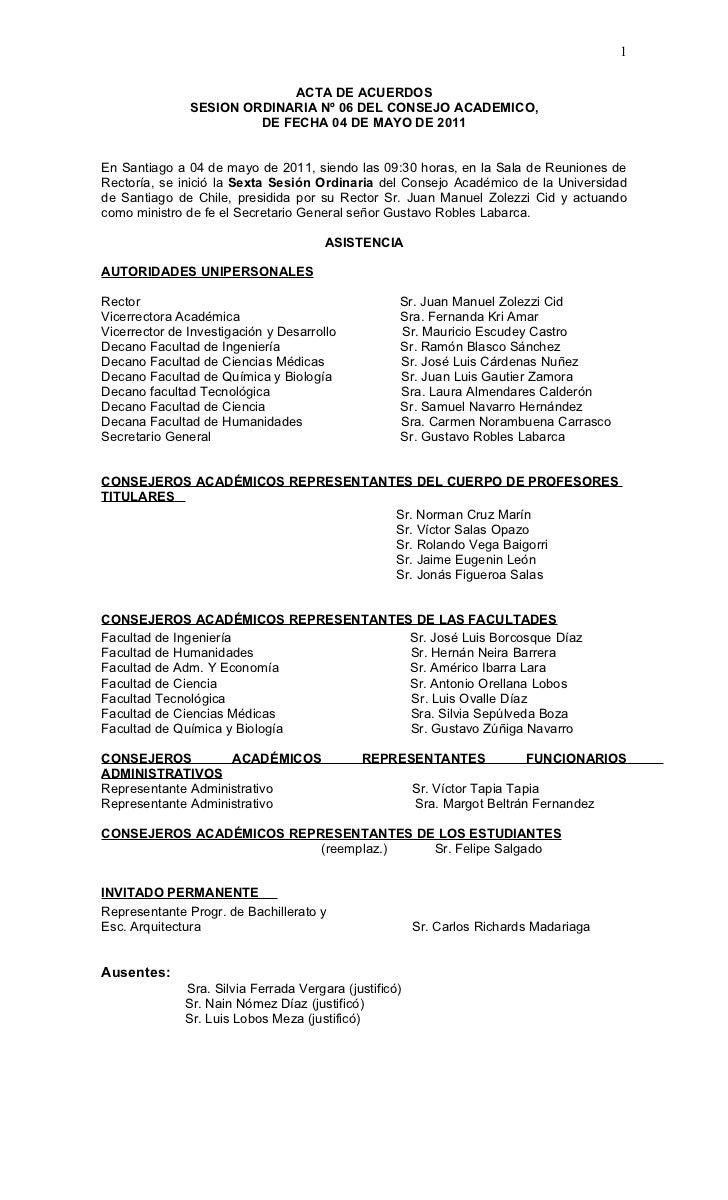 1                            ACTA DE ACUERDOS               SESION ORDINARIA Nº 06 DEL CONSEJO ACADEMICO,                 ...