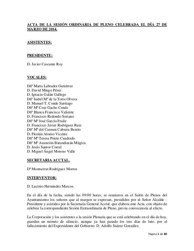 Página 1 de 80 ACTA DE LA SESIÓN ORDINARIA DE PLENO CELEBRADA EL DÍA 27 DE MARZO DE 2014. ASISTENTES: PRESIDENTE: D. Javie...
