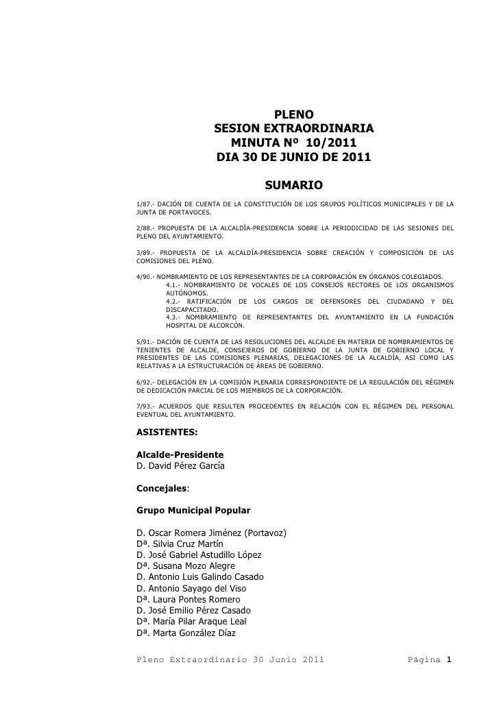 PLENO                     SESION EXTRAORDINARIA                       MINUTA Nº 10/2011                     DIA 30 DE JUNI...