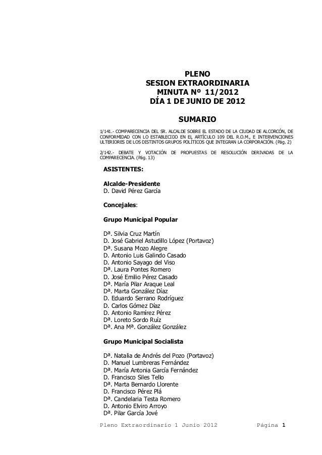 PLENO                   SESION EXTRAORDINARIA                     MINUTA Nº 11/2012                    DÍA 1 DE JUNIO DE 2...