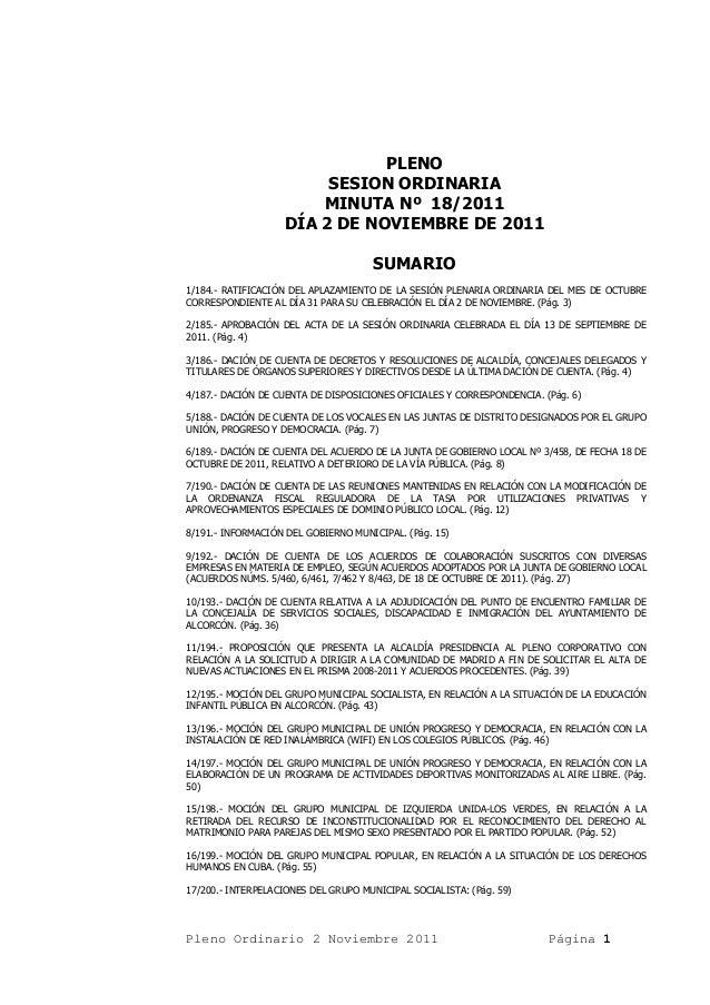 PLENO                        SESION ORDINARIA                       MINUTA Nº 18/2011                   DÍA 2 DE NOVIEMBRE...