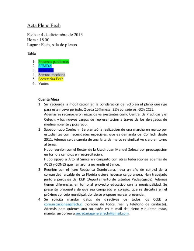 Acta Pleno Fech Fecha : 4 de diciembre de 2013 Hora : 18.00 Lugar : Fech, sala de plenos. Tabla 1. 2. 3. 4. 5. 6.  Proces...