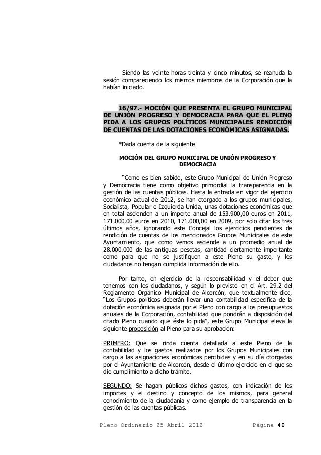 Acta pleno ordinario 25 abril 2012