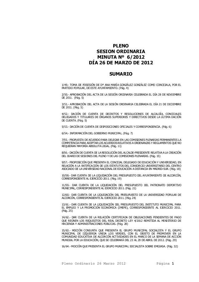 PLENO                      SESION ORDINARIA                      MINUTA Nº 6/2012                   DÍA 26 DE MARZO DE 201...
