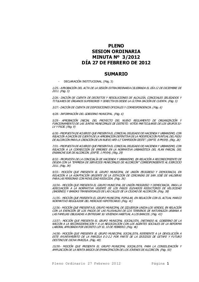 PLENO                         SESION ORDINARIA                         MINUTA Nº 3/2012                     DÍA 27 DE FEBR...