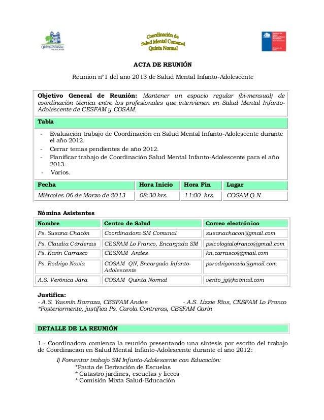 ACTA DE REUNIÓNReunión nº1 del año 2013 de Salud Mental Infanto-AdolescenteObjetivo General de Reunión: Mantener un espaci...
