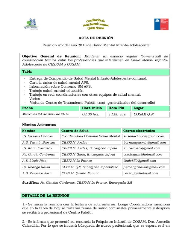 ACTA DE REUNIÓNReunión nº2 del año 2013 de Salud Mental Infanto-AdolescenteObjetivo General de Reunión: Mantener un espaci...
