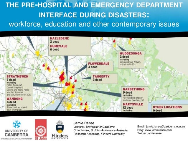 THE PRE-HOSPITAL AND EMERGENCY DEPARTMENT INTERFACE DURING DISASTERS: workforce, education and other contemporary issues J...
