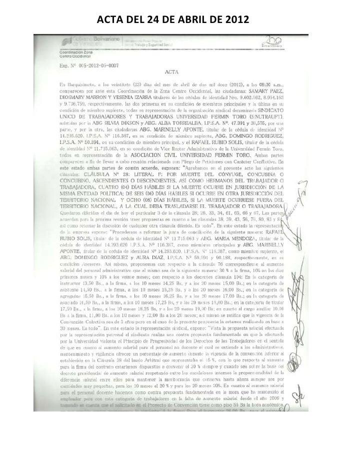 ACTA DEL 24 DE ABRIL DE 2012