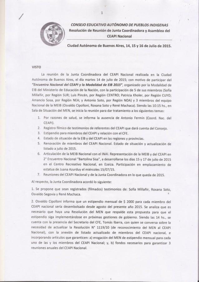 CONSEJO EDUCATIVO AUTONOMO DE PUEBLOS INDIGENAS  $. -  » Resolucién de Reunion de Junta Coordinadora y Asamblea del  V' 'G...