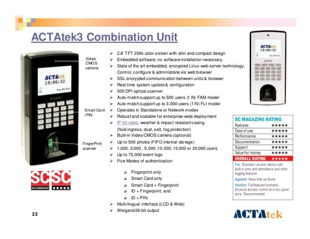 23 ACTAtek3 Combination Unit  2.8' TFT 256k color screen with slim and compact design  Embedded software, no software in...