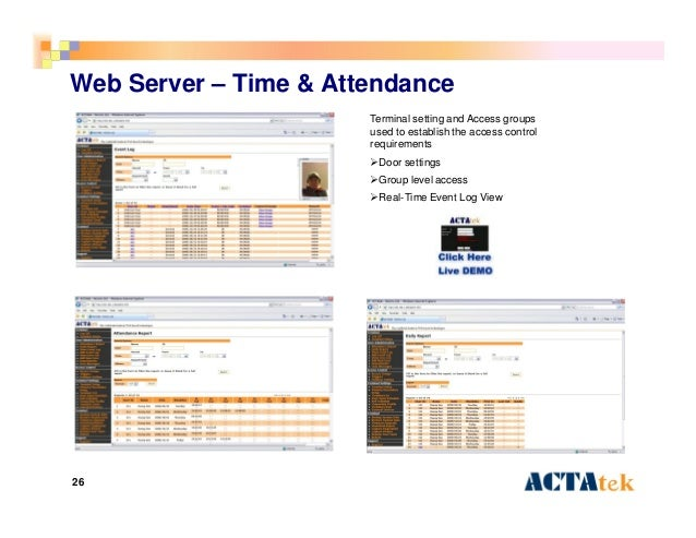 26 Web Server – Time & Attendance Terminal setting and Access groups used to establish the access control requirements Do...