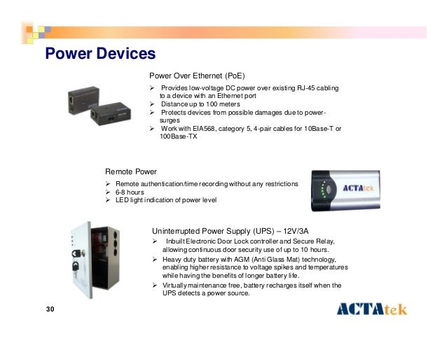 30 Power Devices Power Over Ethernet (PoE)  Provides low-voltage DC power over existing RJ-45 cabling to a device with an...