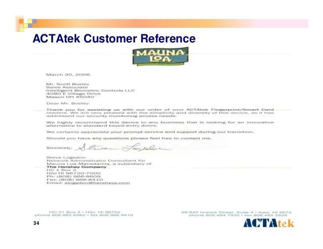 34 ACTAtek Customer Reference