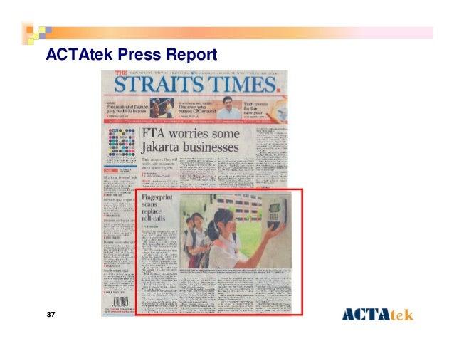 3737 ACTAtek Press Report