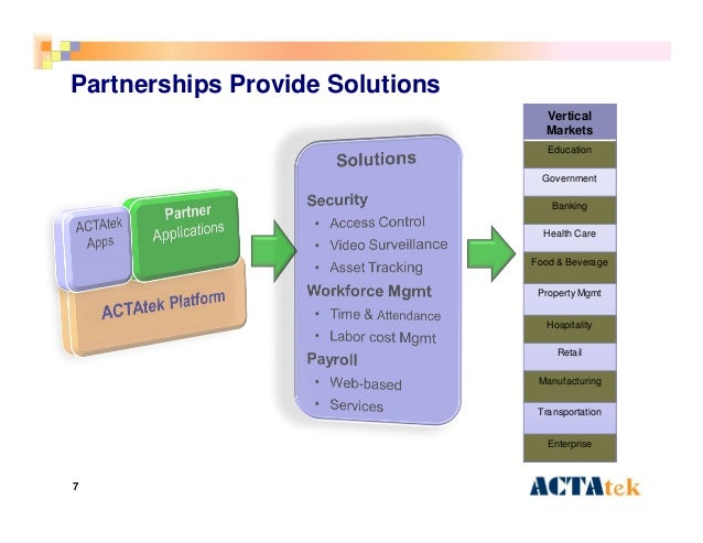 7 Partnerships Provide Solutions Vertical Markets Education Government Banking Health Care Food & Beverage Property Mgmt H...