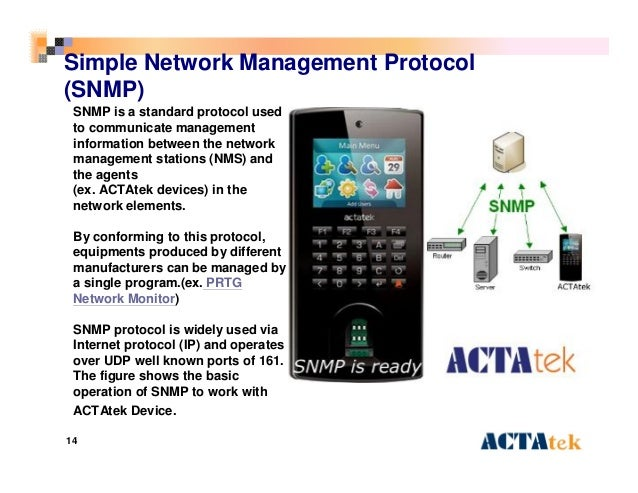 14 Simple Network Management Protocol (SNMP) SNMP is a standard protocol used to communicate management information betwee...