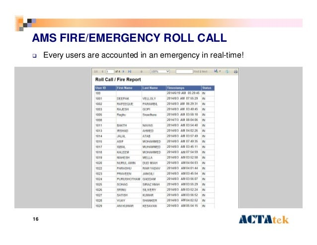 16 AMS FIRE/EMERGENCY ROLL CALL  Every users are accounted in an emergency in real-time!
