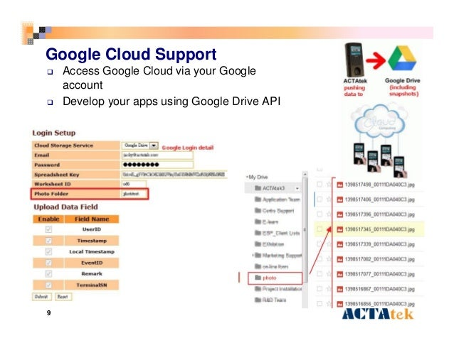 9 Google Cloud Support  Access Google Cloud via your Google account  Develop your apps using Google Drive API