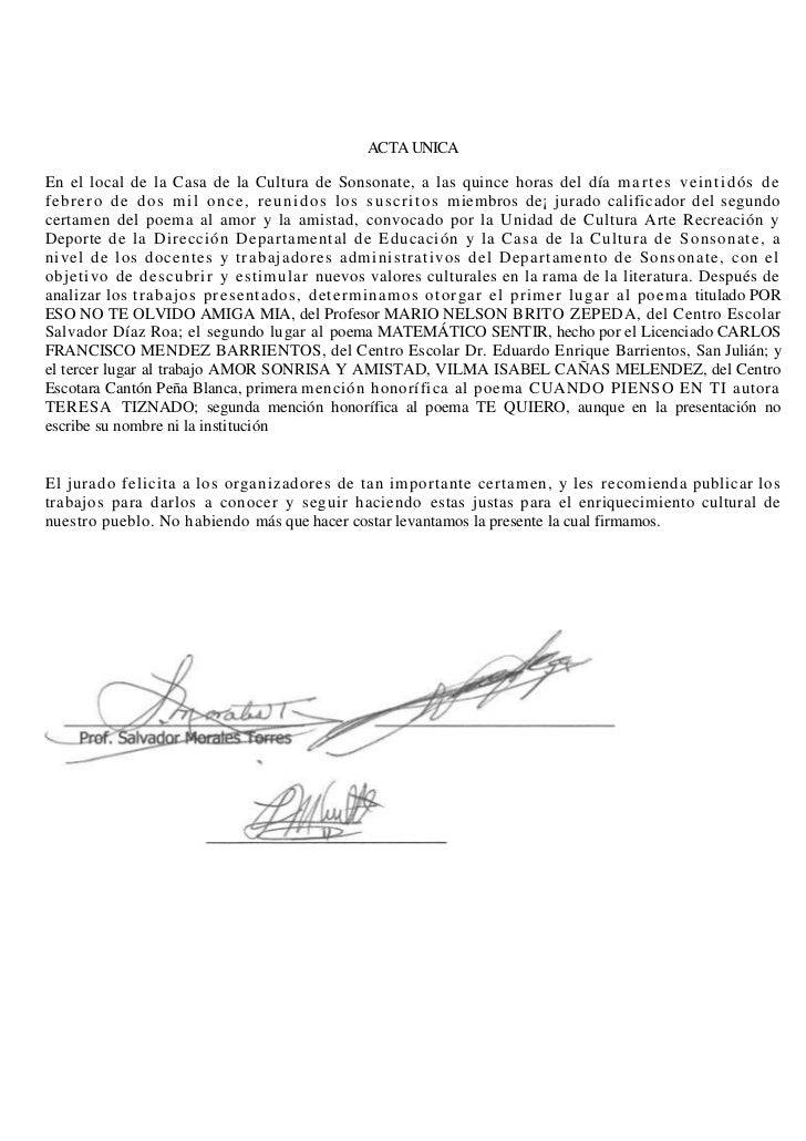 ACTA UNICA<br />En el local de la Casa de la Cultura de Sonsonate, a las quince horas del día martes veintidós de febrero ...