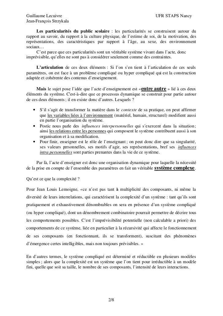 Guillaume Lecuivre                                                        UFR STAPS NancyJean-François Strzykala      Les ...