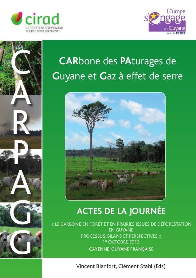 C A R P A G G  Carbone des PAturages de Guyane et Gaz à effet de serre  Actes de la journée « Le carbone en forêt et en pr...