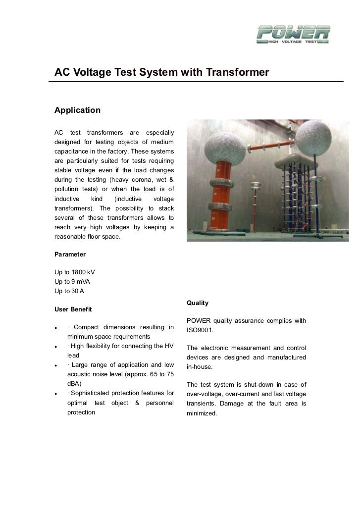 AC Voltage Test System with TransformerApplicationAC test transformers are especiallydesigned for testing objects of mediu...