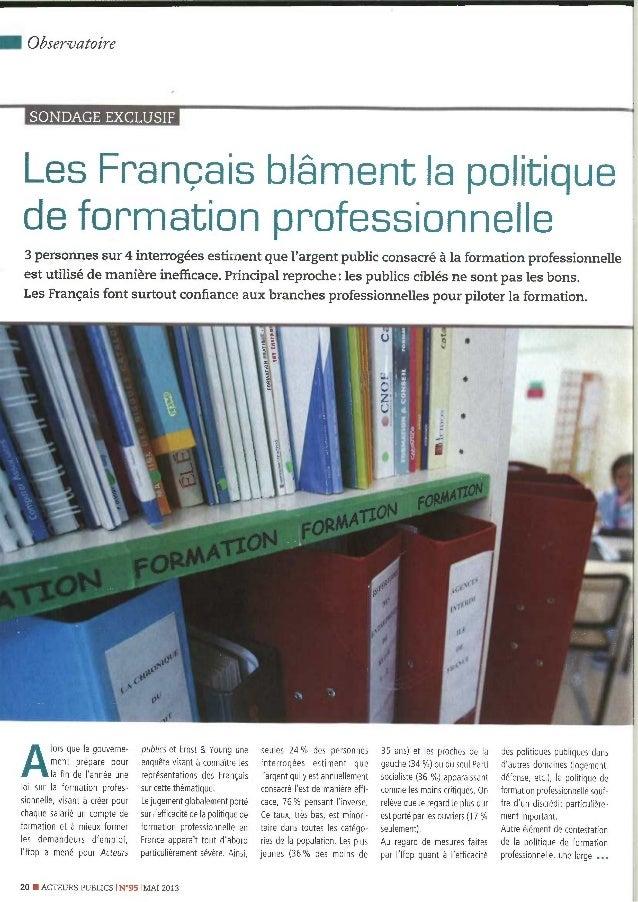 Les français blâment la formation professionnelle