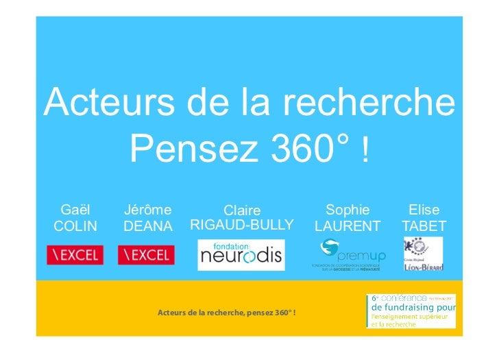 Acteurs de la recherche    Pensez 360° ! Gaël   Jérôme          Claire                        Sophie    EliseCOLIN   DEANA...