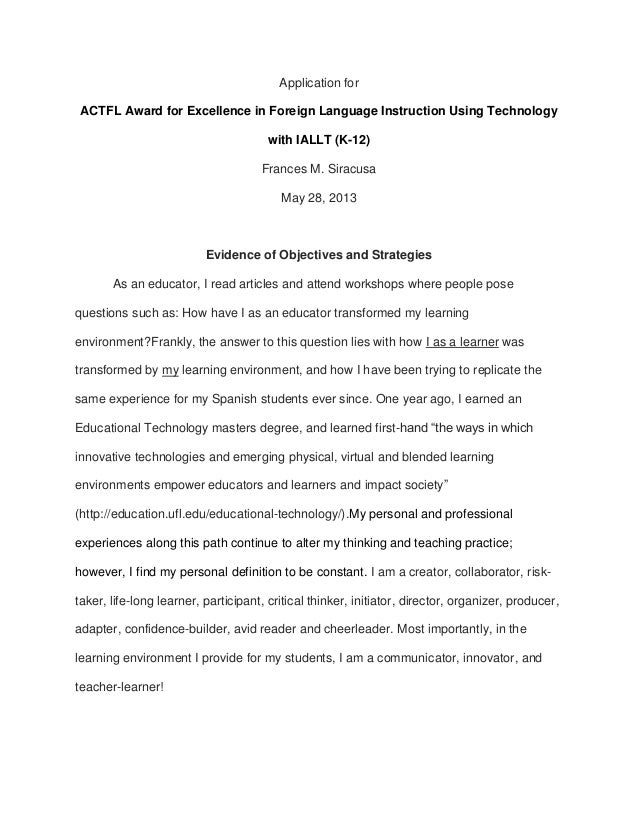Application forACTFL Award for Excellence in Foreign Language Instruction Using Technologywith IALLT (K-12)Frances M. Sira...
